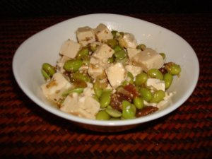 Edamame with tofu and figs