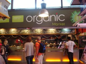 organic food stand in the boqueria market