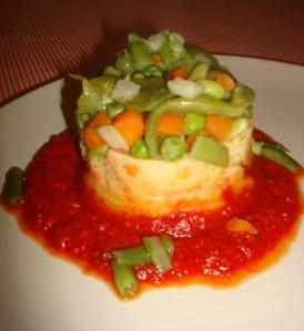 potatoe yam carrot puree topped with beans and veggies