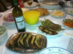 tofu roast, grilled veggies and vegan wine